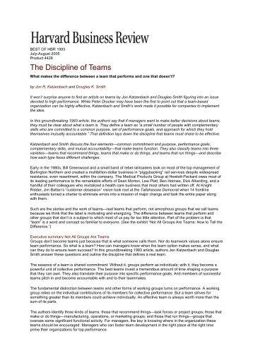 the discipline of teams katzenbach