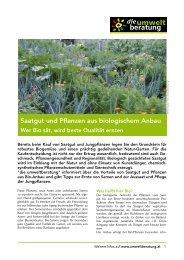 Saatgut und Pflanzen aus biologischem Anbau - umweltberatung