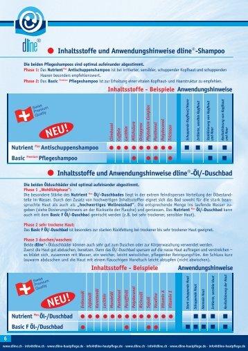Inhaltsstoffe und Anwendungshinweise dline®-Öl/-Duschbad