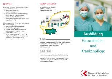 und Krankenpflege - Märkische Kliniken GmbH