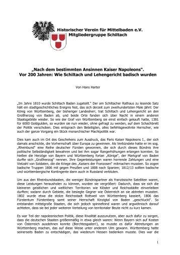 Schiltach 200 Jahre bei Baden - Geschichte - Schiltach