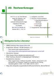 sew-40-testwerkzeuge.. - Lehrstuhl Softwaretechnologie