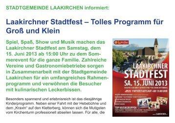 Laakirchner Stadtfest – Tolles Programm für Groß und Klein - bei ...