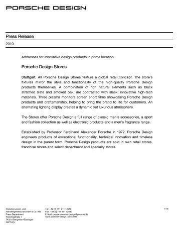 Porsche Design Stores - PORSCHE DESIGN Presseportal