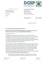 Schreiben der DGSP an den Präsidenten des Europäischen ...