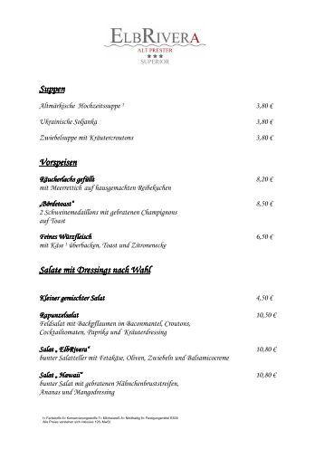 Auszug aus der Speisekarte zum Download - Hotel ELBRIVERA Alt ...
