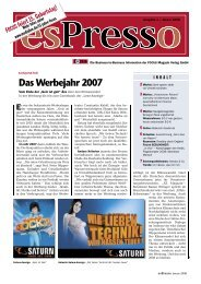 esPresso Ausgabe 1 / Januar 2008 - FOCUS MediaLine