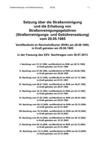 Straßenreinigungs- und Gebührensatzung - Gemeinde Reichshof