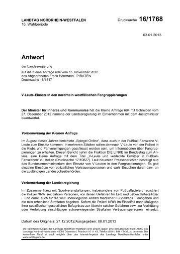 Antwort - Piratenfraktion im Landtag NRW
