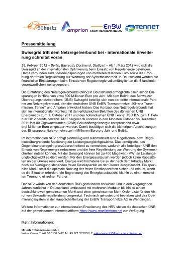Pressemitteilung Swissgrid tritt dem Netzregelverbund bei ...