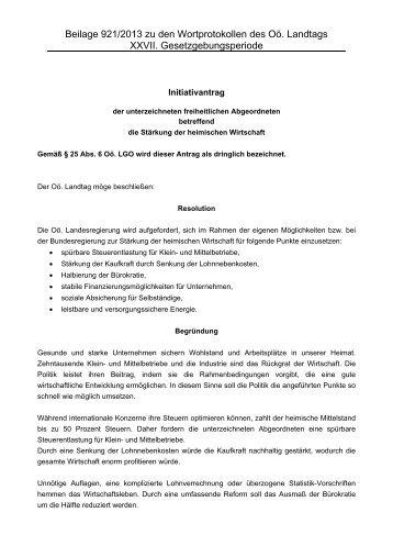 02700921 Initiativantrag IA 921/2013 GP XXVII - Initiativantrag ...