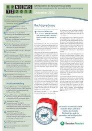 KP NEWS 12.2012 – bAV Newsletter der Kenston Pension GmbH