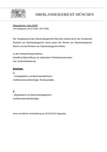 OBERLANDESGERICHT MÜNCHEN - Oeffentliche Auftraege