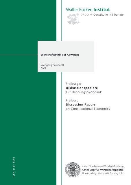 Wirtschaftsethik auf Abwegen - Walter Eucken Institut