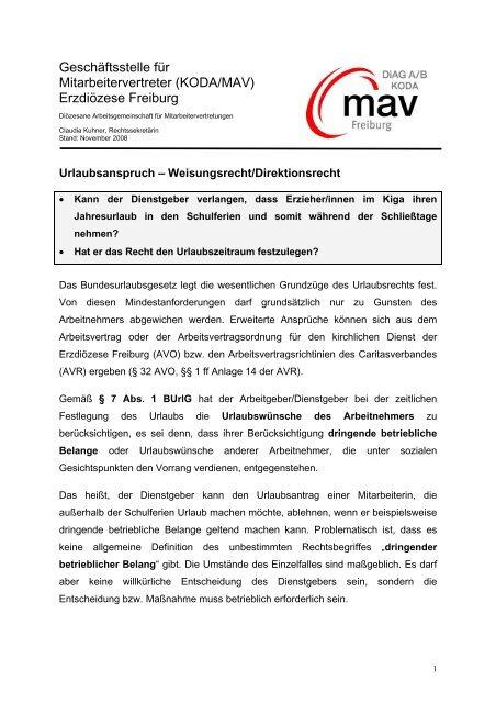 Urlaubsanspruch - DIAG - MAV Freiburg