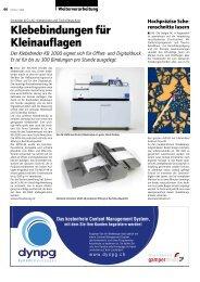 Klebebindungen für Kleinauflagen - Publisher