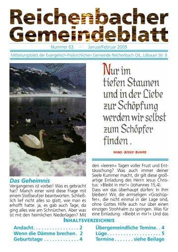 Gemeindezeitung Januar/Februar 2009 - bei der EFG Reichenbach