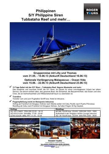 Tauchsafari Tubbataha Reef mit der S/Y Philippine ... - Roger Tours