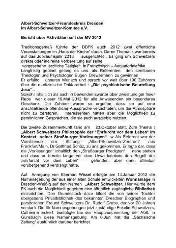 Bericht an Mitgliederversammlung 2013 - Albert-Schweitzer ...