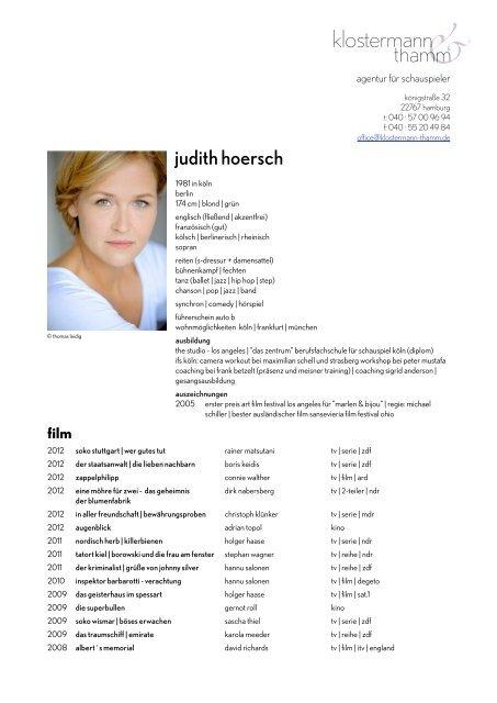 Download Schauspiel Vita Judith Hoersch