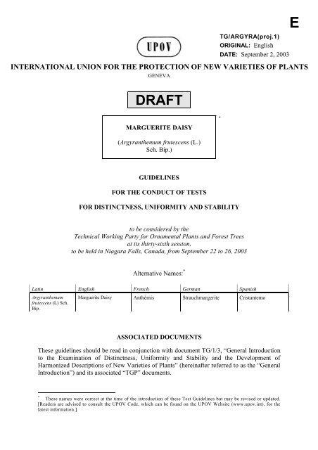 (Argyranthemum frutescens (L.) Sch. Bip.) - International Union for ...