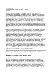 Renate Wiehager Conceptual Tendencies II. Körper / Raum ...