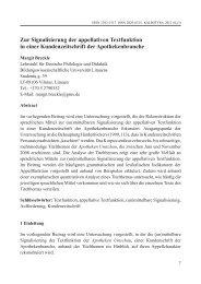 Zur Signalisierung der appellativen Textfunktion in einer ...