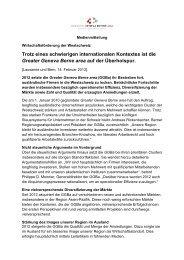 Medienmitteilung Bilanz GGBa 2012 - Volkswirtschaftsdirektion