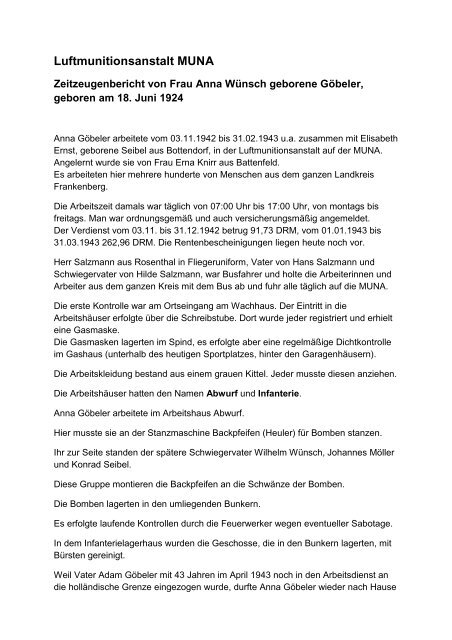866a508c958910 Zeitzeugenbericht von Frau Anna Wünsch geborene Göbeler