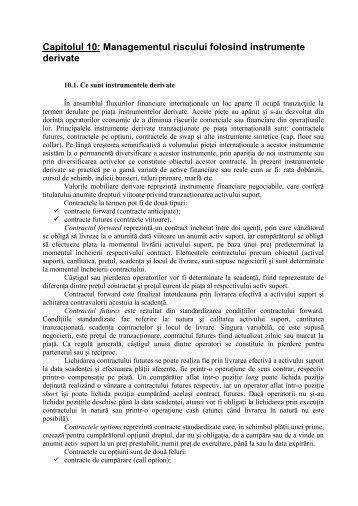 Capitolul 10: Managementul riscului folosind instrumente derivate