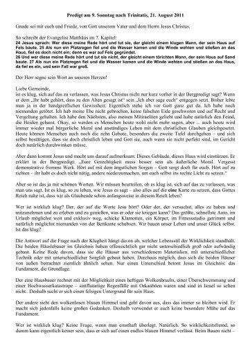 Predigt 9. Sonntag nach Trinitatis, 21. August 2011