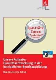 Unsere Aufgabe: Qualitätsentwicklung in der betrieblichen Berufsausbildung