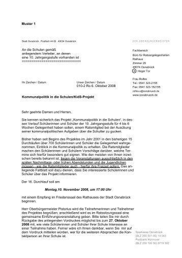 Anschreiben an Schulen - Stadt Osnabrück