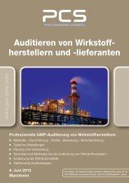 Auditieren von Wirkstoff herstellern und lieferanten - PCS