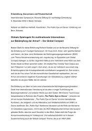 Referat zum Global Compact am Symposium der Novartis Stiftung ...