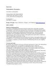 Impressum Medieninhaber, Herausgeber - Gut Schloss Lichtengraben