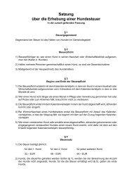 Satzung über die Erhebung einer Hundesteuer - Gemeinde ...
