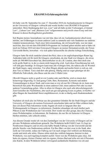 Erfahrungsbericht Wintersemester 2010/11 - Fachbereich ...
