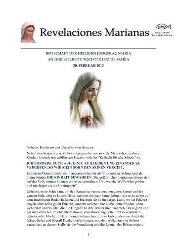 1 BOTSCHAFT DER HEILIGEN JUNGFRAU ... - Gottes Warnung