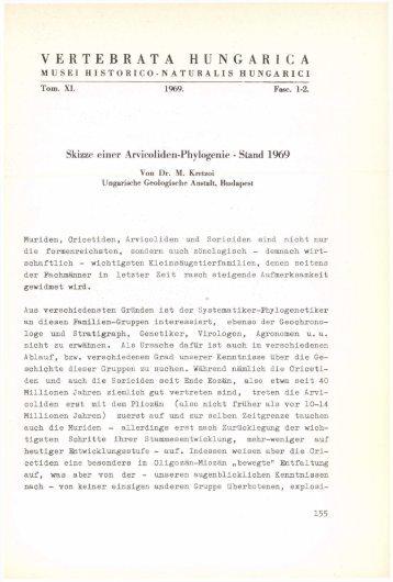 Vertebrata Hungarica 11/1-2. (Budapest, 1969)
