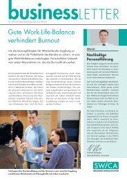 Gute Work-Life-Balance verhindert Burnout - Swica