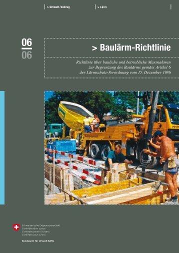 Baulärm-Richtlinie - Cercle Bruit Schweiz
