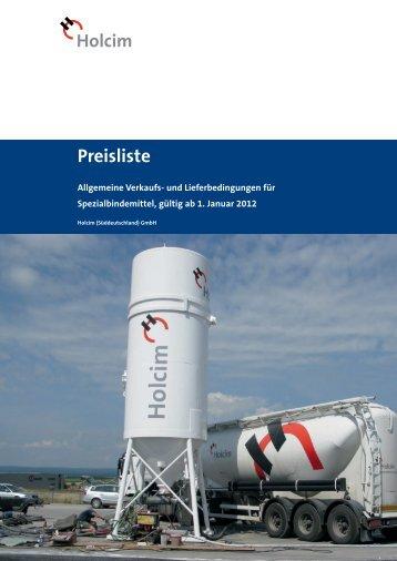 Cover title 28pt. Preisliste - Holcim Süddeutschland