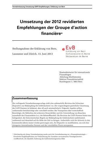 Umsetzung der 2012 revidierten Empfehlungen der Groupe d'action ...