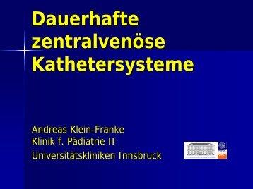 Dauerhafte zentralvenöse Kathetersysteme - AKE