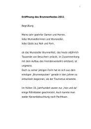 Eröffnung des Brunnenfestes 2011 Begrüßung Meine ... - Wunsiedel