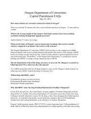 Oregon Department of Corrections Capital Punishment FAQs