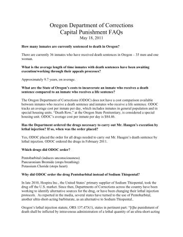 Oregon Department of Corrections Capital Punishment FAQs