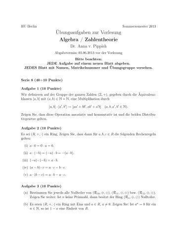Serie 8 - Mathematik und ihre Didaktik