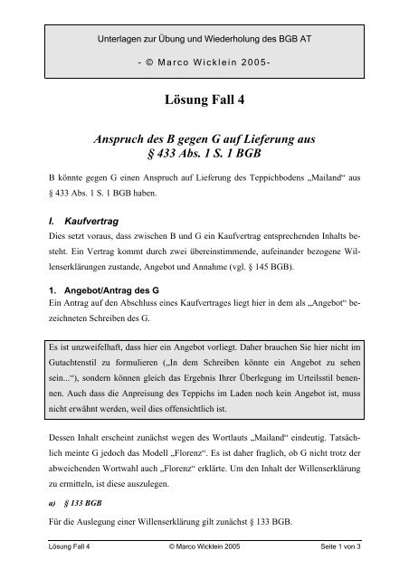Lösung Fall 4 Dr Marco Wicklein